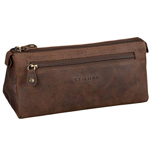 Trousse en cuir Vintage Stilord triangulaire